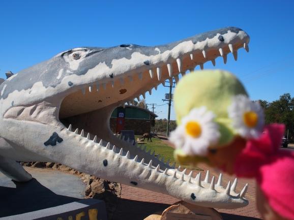 Nan acts like a good at Hughenden Dinosaur Museum.