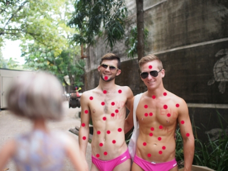 """Tony Abbott nearly ruined the budgie smuggler, thank god for you gays!""  A tipsy Nan TANKED with spiked tutti fruitti punch gives some cuties the RED DOT treatment!!"